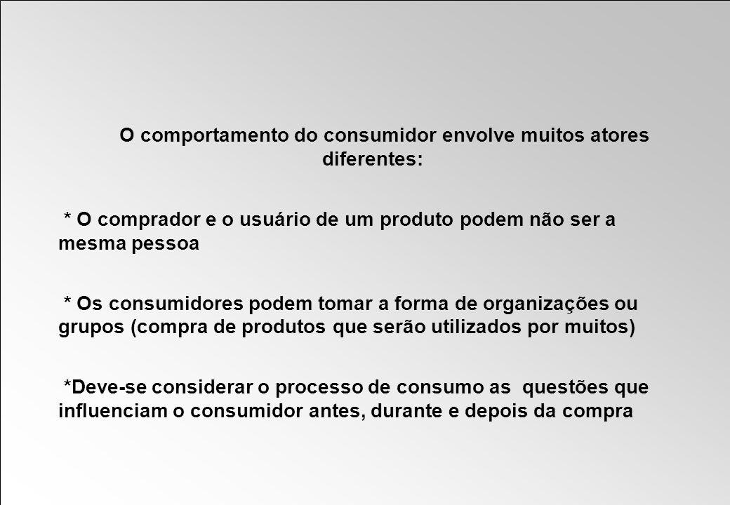 O comportamento do consumidor envolve muitos atores diferentes: * O comprador e o usuário de um produto podem não ser a mesma pessoa * Os consumidores