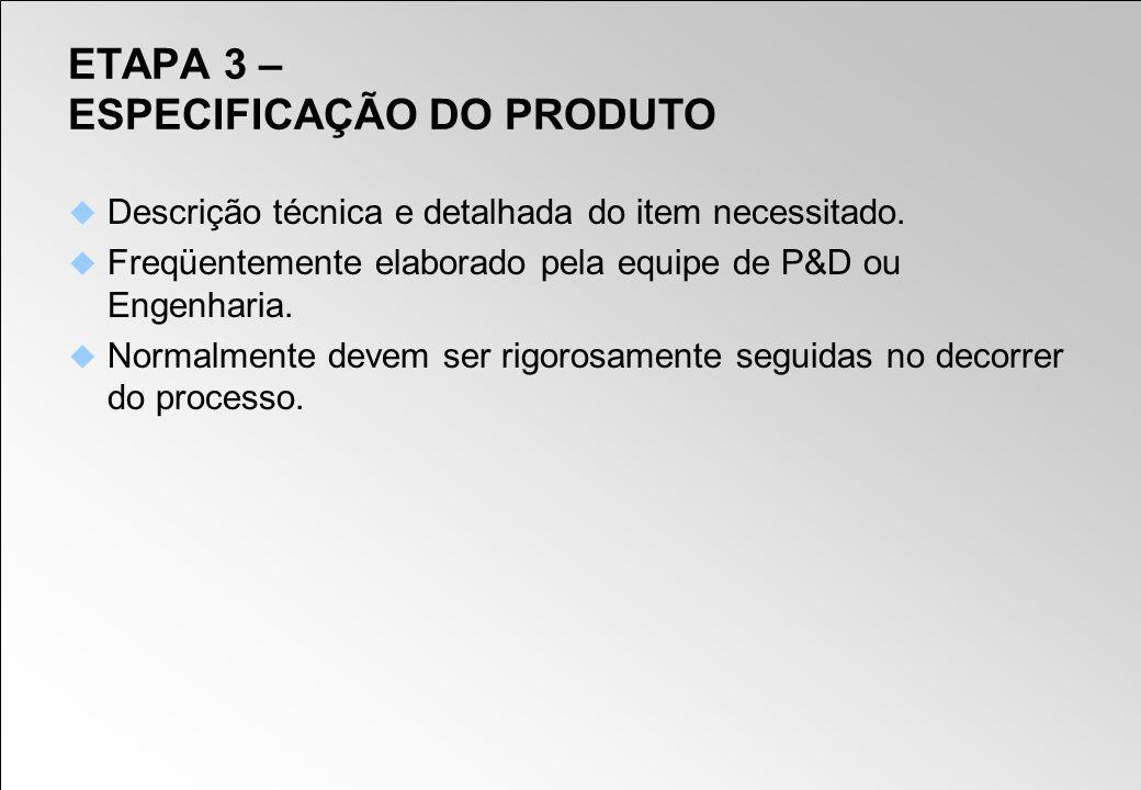 ETAPA 3 – ESPECIFICAÇÃO DO PRODUTO Descrição técnica e detalhada do item necessitado. Freqüentemente elaborado pela equipe de P&D ou Engenharia. Norma
