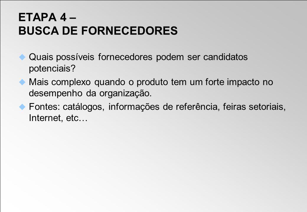 ETAPA 4 – BUSCA DE FORNECEDORES Quais possíveis fornecedores podem ser candidatos potenciais? Mais complexo quando o produto tem um forte impacto no d