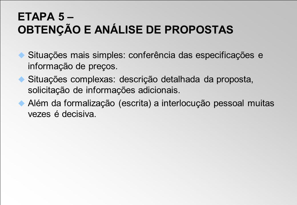 ETAPA 5 – OBTENÇÃO E ANÁLISE DE PROPOSTAS Situações mais simples: conferência das especificações e informação de preços. Situações complexas: descriçã