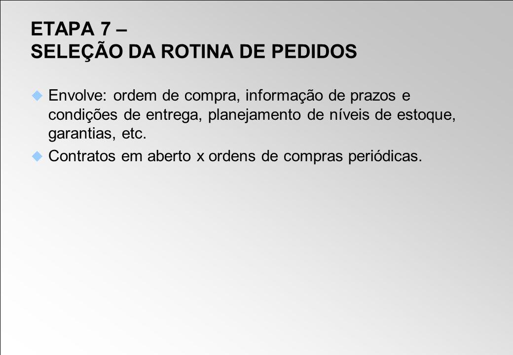 ETAPA 7 – SELEÇÃO DA ROTINA DE PEDIDOS Envolve: ordem de compra, informação de prazos e condições de entrega, planejamento de níveis de estoque, garan