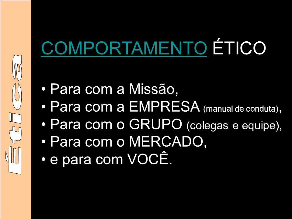 COMPORTAMENTOCOMPORTAMENTO ÉTICO Para com a Missão, Para com a EMPRESA (manual de conduta), Para com o GRUPO (colegas e equipe), Para com o MERCADO, e para com VOCÊ.