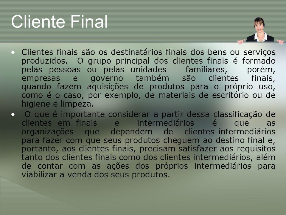 Cliente Final Clientes finais são os destinatários finais dos bens ou serviços produzidos. O grupo principal dos clientes finais é formado pelas pesso