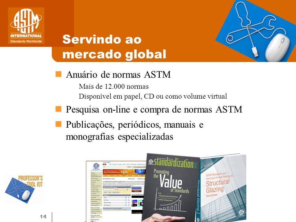 14 Servindo ao mercado global Anuário de normas ASTM Mais de 12.000 normas Disponível em papel, CD ou como volume virtual Pesquisa on-line e compra de