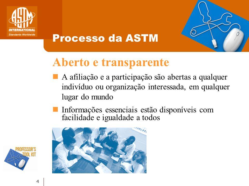 4 Processo da ASTM A afiliação e a participação são abertas a qualquer indivíduo ou organização interessada, em qualquer lugar do mundo Informações es