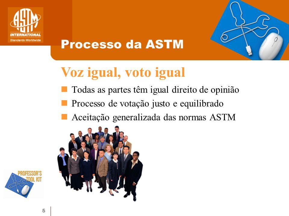 5 Processo da ASTM Todas as partes têm igual direito de opinião Processo de votação justo e equilibrado Aceitação generalizada das normas ASTM Voz igu