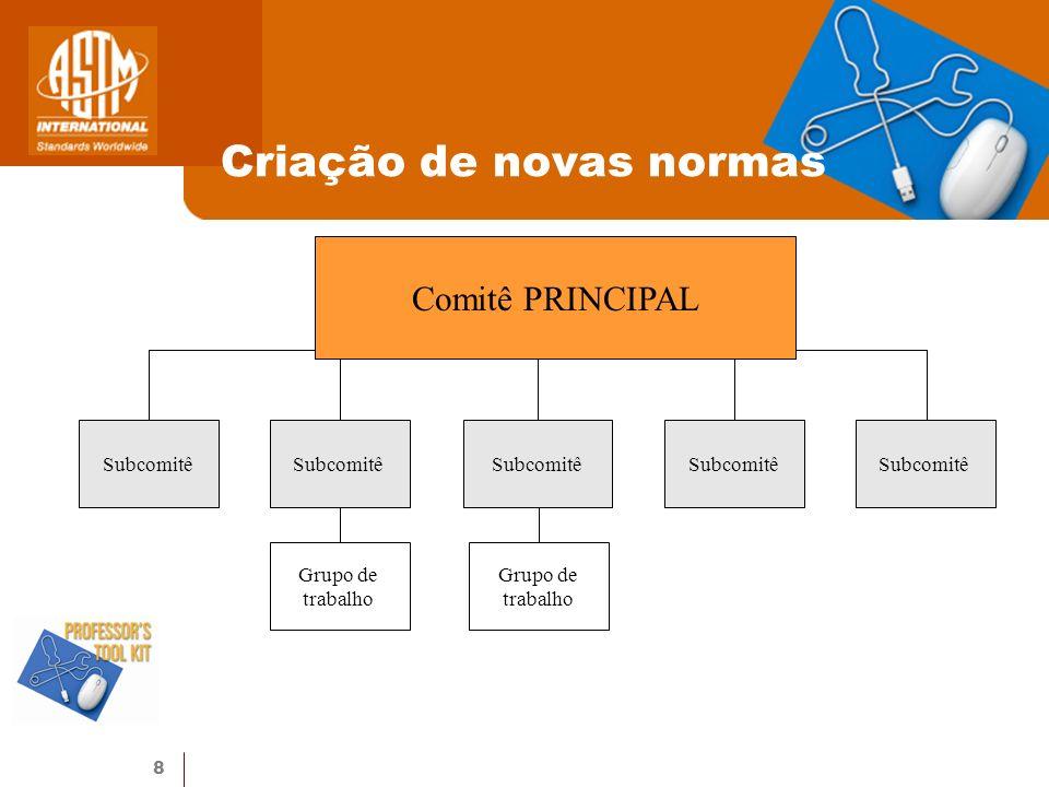 8 Criação de novas normas Comitê PRINCIPAL Subcomitê Grupo de trabalho