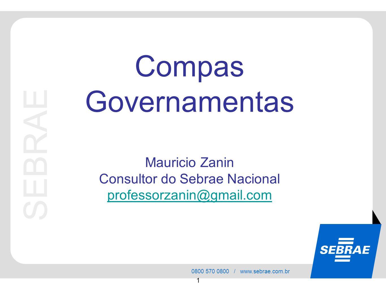 SEBRAE 0800 570 0800 / www.sebrae.com.br 1 SEBRAE Compas Governamentas Mauricio Zanin Consultor do Sebrae Nacional professorzanin@gmail.com
