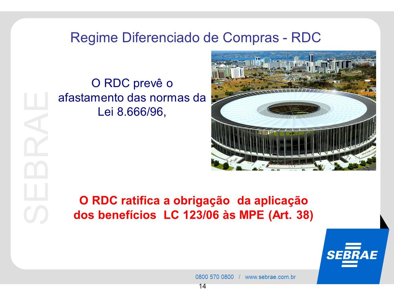 SEBRAE 0800 570 0800 / www.sebrae.com.br 14 Regime Diferenciado de Compras - RDC O RDC ratifica a obrigação da aplicação dos benefícios LC 123/06 às M