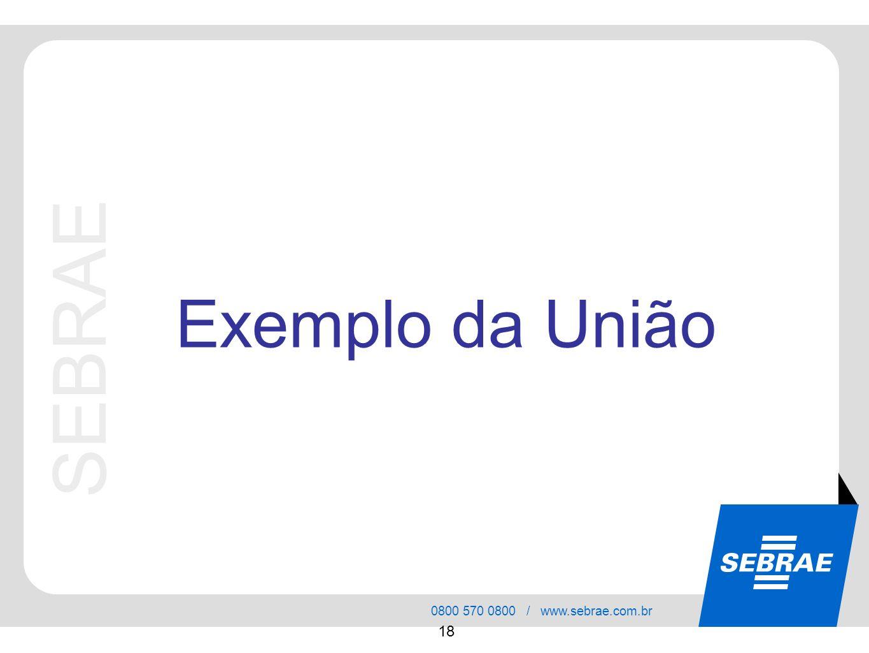 SEBRAE 0800 570 0800 / www.sebrae.com.br 18 SEBRAE Exemplo da União