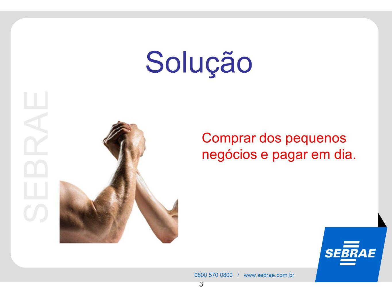 SEBRAE 0800 570 0800 / www.sebrae.com.br 3 Comprar dos pequenos negócios e pagar em dia. Solução