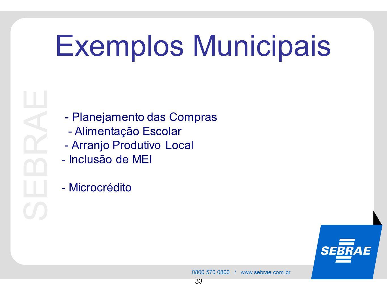 SEBRAE 0800 570 0800 / www.sebrae.com.br 33 SEBRAE Exemplos Municipais - Planejamento das Compras - Alimentação Escolar - Arranjo Produtivo Local - In