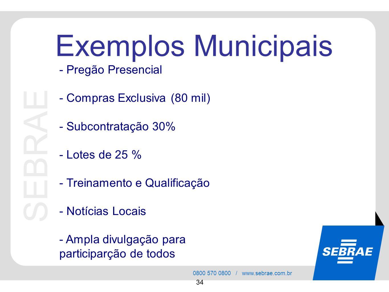 SEBRAE 0800 570 0800 / www.sebrae.com.br 34 SEBRAE Exemplos Municipais - Pregão Presencial - Compras Exclusiva (80 mil) - Subcontratação 30% - Lotes d