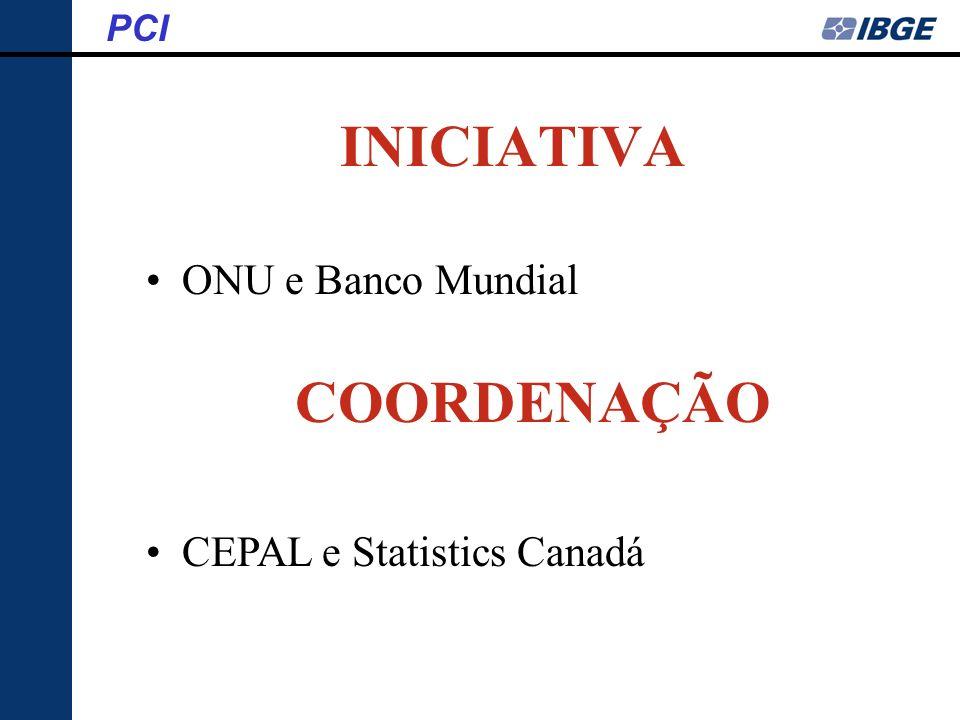 INICIATIVA ONU e Banco Mundial COORDENAÇÃO CEPAL e Statistics Canadá PCI