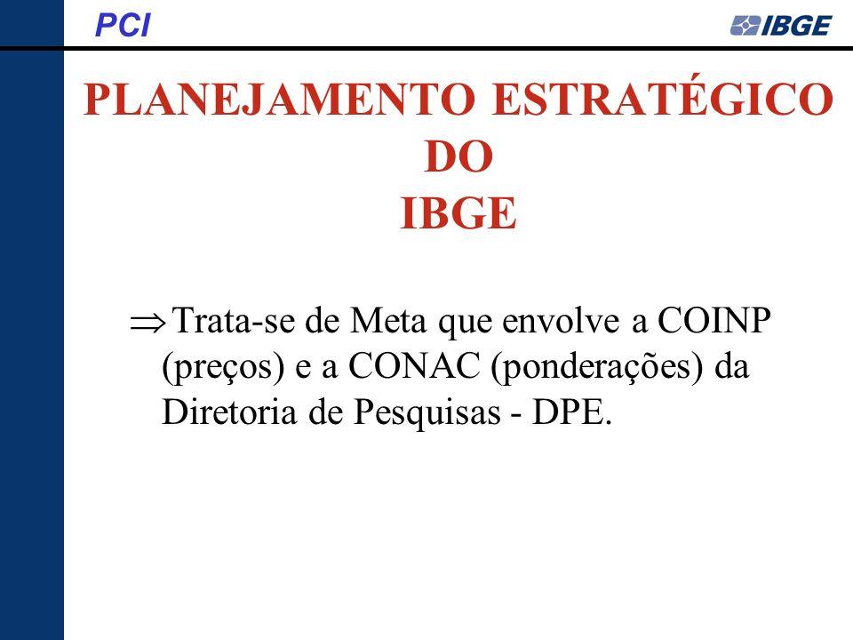 PLANEJAMENTO ESTRATÉGICO DO IBGE Trata-se de Meta que envolve a COINP (preços) e a CONAC (ponderações) da Diretoria de Pesquisas - DPE. PCI