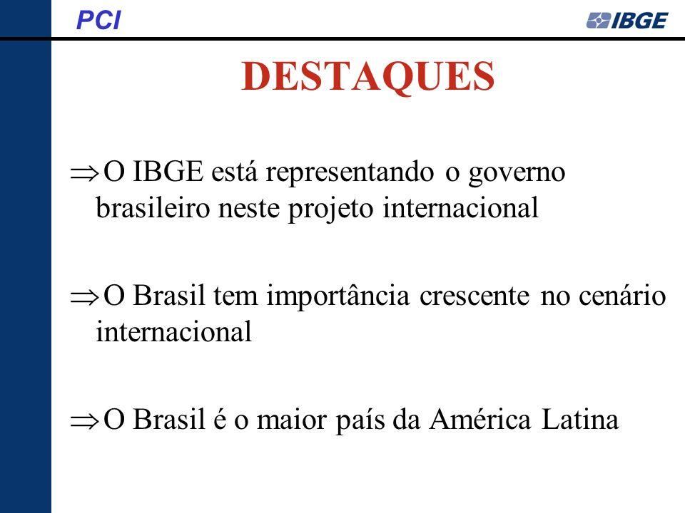 O IBGE está representando o governo brasileiro neste projeto internacional O Brasil tem importância crescente no cenário internacional O Brasil é o ma