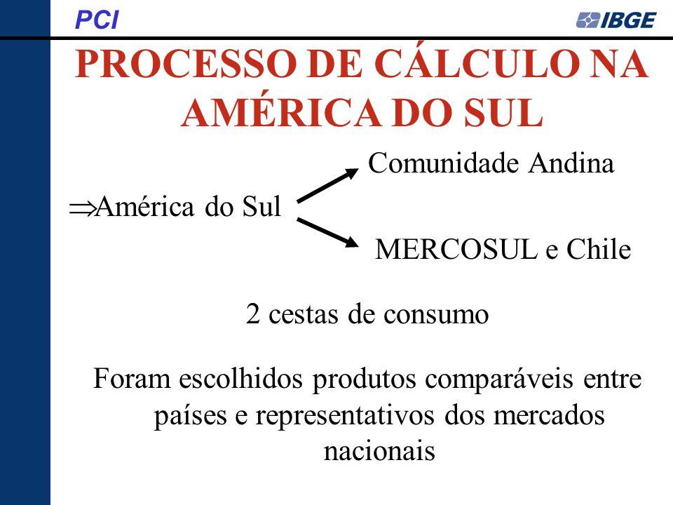 PROCESSO DE CÁLCULO NA AMÉRICA DO SUL PCI Comunidade Andina América do Sul MERCOSUL e Chile 2 cestas de consumo Foram escolhidos produtos comparáveis