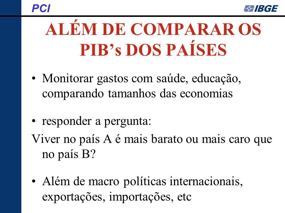 Diretoria de Pesquisas Coordenação de Índices de Preços - COINP Sistema Nacional de Índices de Preços ao Consumidor Programa de Comparações Internacionais PCI País Anel Data 16/08/06