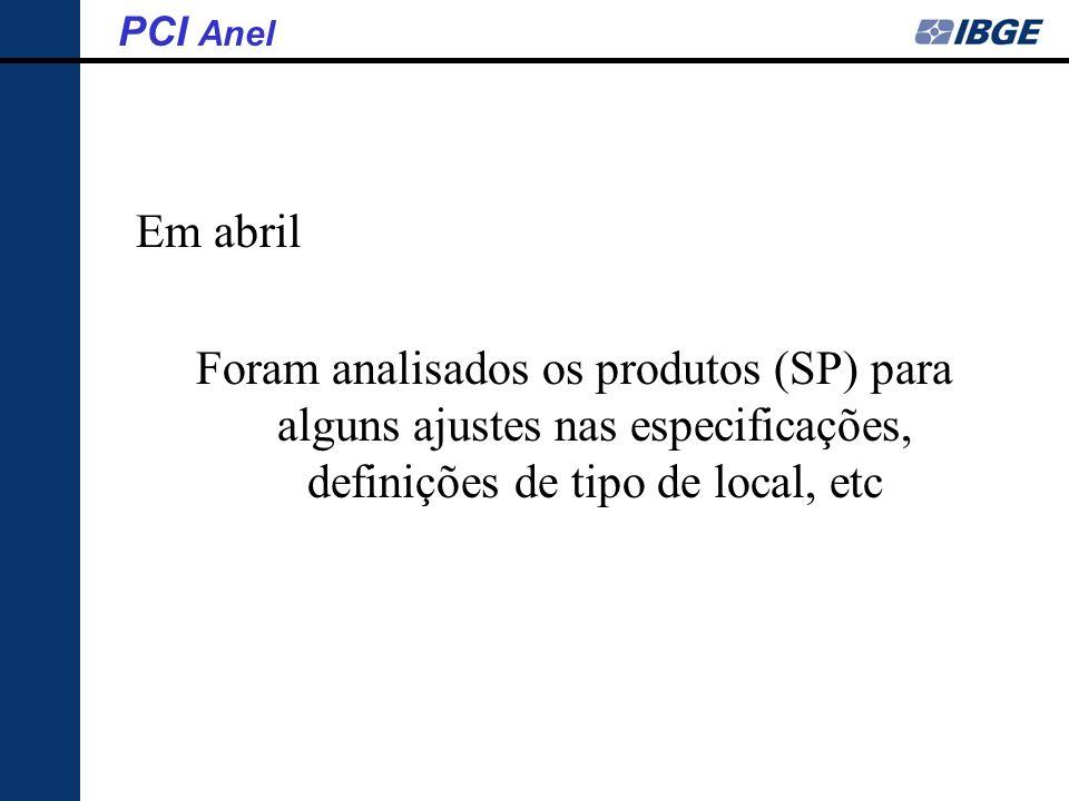 Em abril Foram analisados os produtos (SP) para alguns ajustes nas especificações, definições de tipo de local, etc PCI Anel