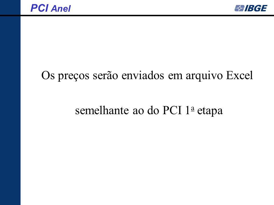 Os preços serão enviados em arquivo Excel semelhante ao do PCI 1 a etapa PCI Anel
