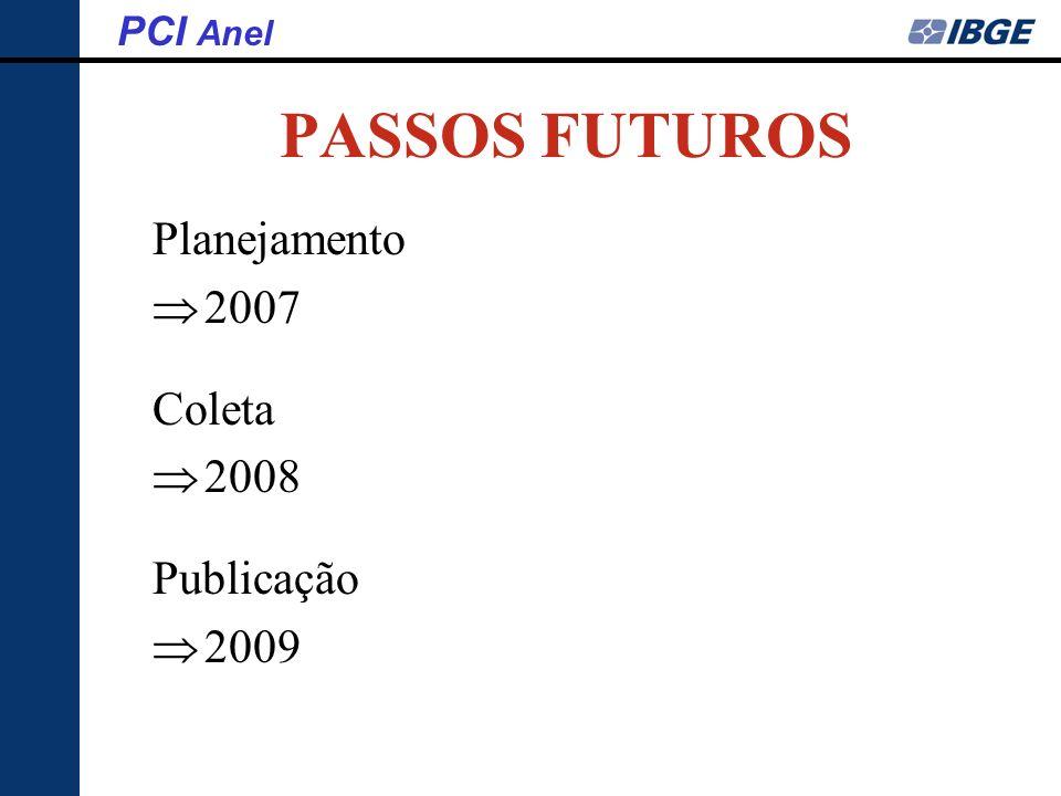 PASSOS FUTUROS Planejamento 2007 Coleta 2008 Publicação 2009 PCI Anel