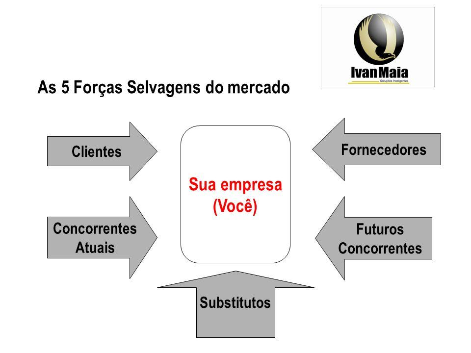 Sua empresa (Você) As 5 Forças Selvagens do mercado Clientes Concorrentes Atuais Futuros Concorrentes Fornecedores Substitutos