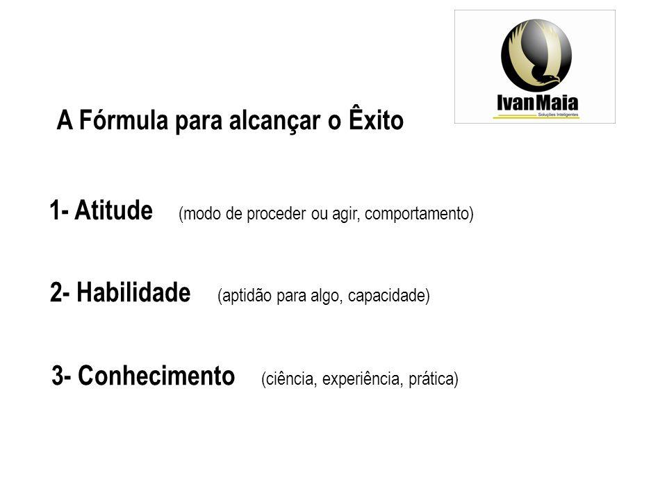 A Fórmula para alcançar o Êxito 1- Atitude (modo de proceder ou agir, comportamento) 2- Habilidade (aptidão para algo, capacidade) 3- Conhecimento (ciência, experiência, prática)
