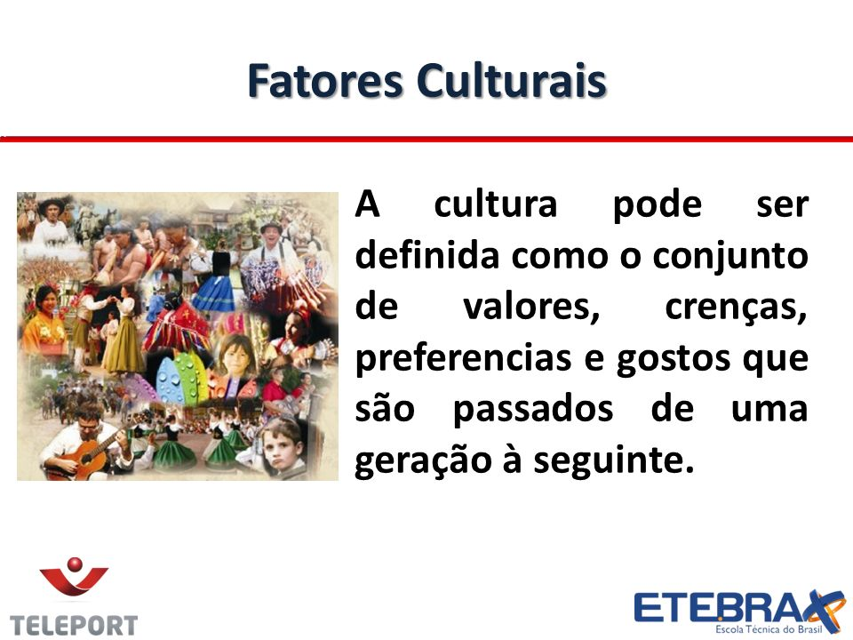 Fatores Culturais A cultura pode ser definida como o conjunto de valores, crenças, preferencias e gostos que são passados de uma geração à seguinte.