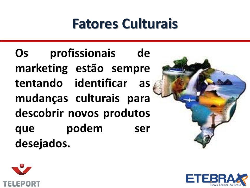 Fatores Culturais Os profissionais de marketing estão sempre tentando identificar as mudanças culturais para descobrir novos produtos que podem ser de