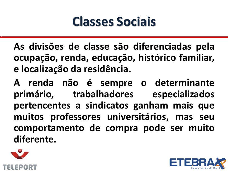 Classes Sociais As divisões de classe são diferenciadas pela ocupação, renda, educação, histórico familiar, e localização da residência. A renda não é