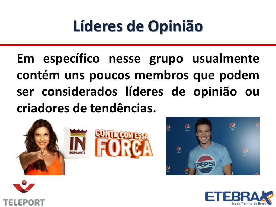 Líderes de Opinião Em específico nesse grupo usualmente contém uns poucos membros que podem ser considerados líderes de opinião ou criadores de tendên