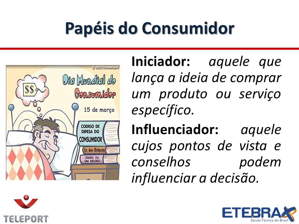 Papéis do Consumidor Iniciador: aquele que lança a ideia de comprar um produto ou serviço específico. Influenciador: aquele cujos pontos de vista e co