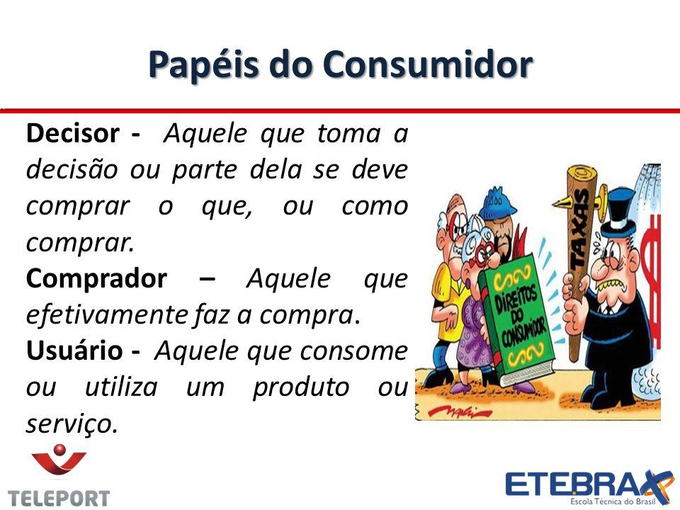 Papéis do Consumidor Decisor - Aquele que toma a decisão ou parte dela se deve comprar o que, ou como comprar. Comprador – Aquele que efetivamente faz