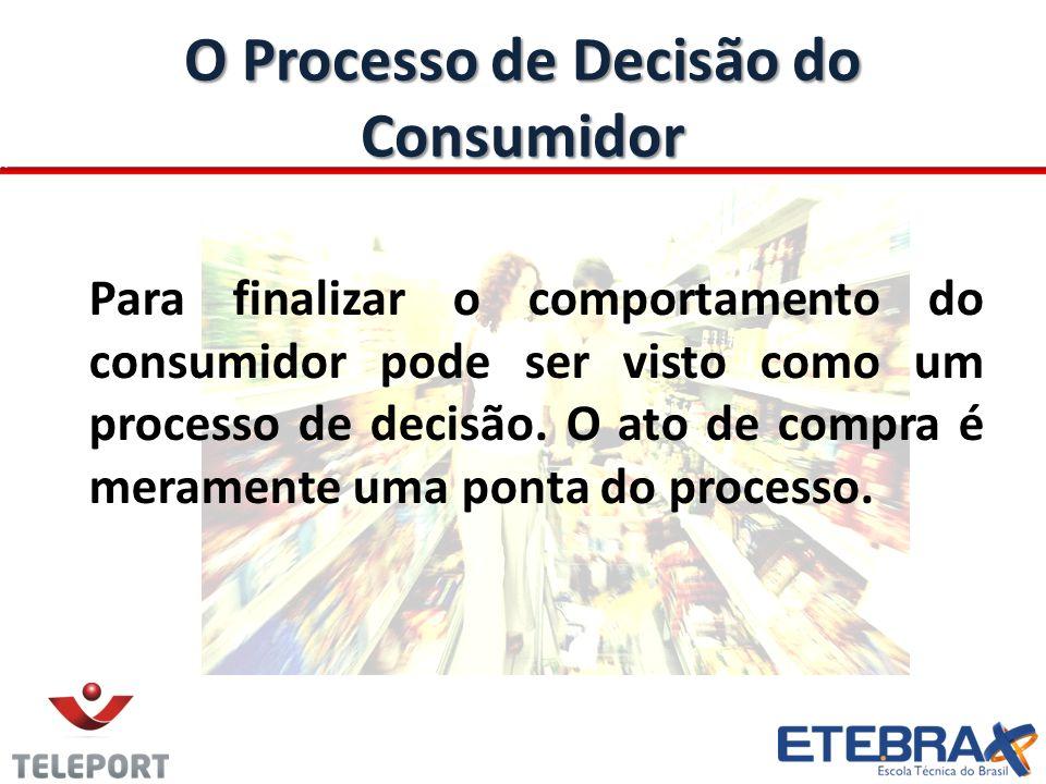 O Processo de Decisão do Consumidor Para finalizar o comportamento do consumidor pode ser visto como um processo de decisão. O ato de compra é meramen
