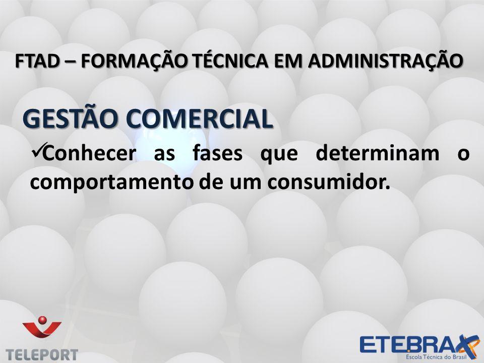 GESTÃO COMERCIAL GESTÃO COMERCIAL FTAD – FORMAÇÃO TÉCNICA EM ADMINISTRAÇÃO Conhecer as fases que determinam o comportamento de um consumidor.