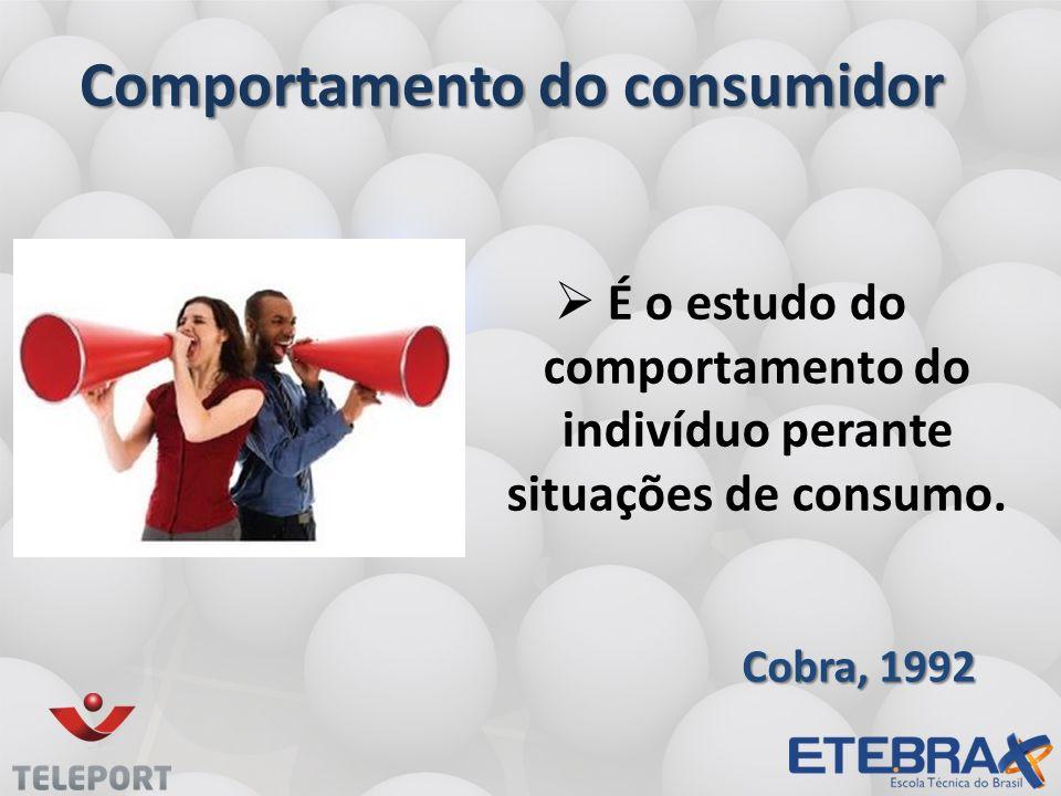 Comportamento do consumidor É o estudo do comportamento do indivíduo perante situações de consumo. Cobra, 1992