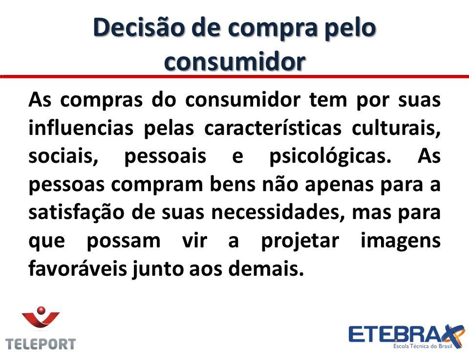 Decisão de compra pelo consumidor As compras do consumidor tem por suas influencias pelas características culturais, sociais, pessoais e psicológicas.