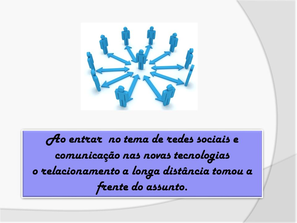 Ao entrar no tema de redes sociais e comunicação nas novas tecnologias o relacionamento a longa distância tomou a frente do assunto. Ao entrar no tema
