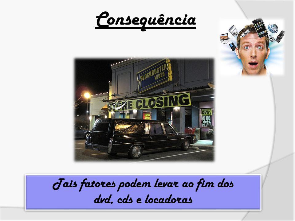 Consequência Tais fatores podem levar ao fim dos dvd, cds e locadoras Tais fatores podem levar ao fim dos dvd, cds e locadoras