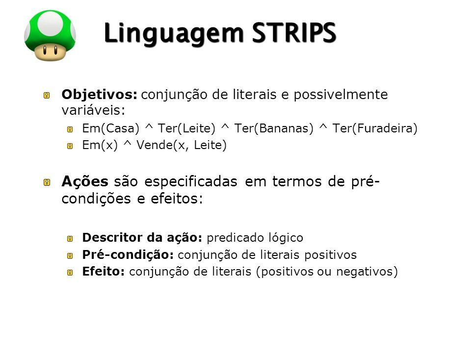 LOGO Linguagem STRIPS Objetivos: conjunção de literais e possivelmente variáveis: Em(Casa) ^ Ter(Leite) ^ Ter(Bananas) ^ Ter(Furadeira) Em(x) ^ Vende(