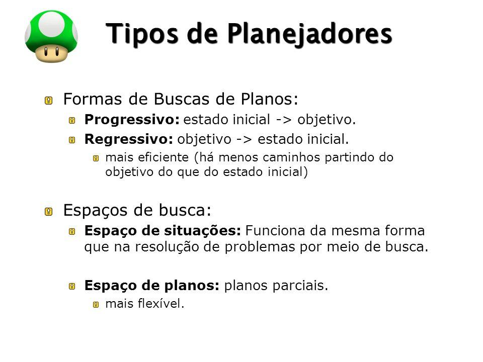 LOGO Tipos de Planejadores Formas de Buscas de Planos: Progressivo: estado inicial -> objetivo. Regressivo: objetivo -> estado inicial. mais eficiente