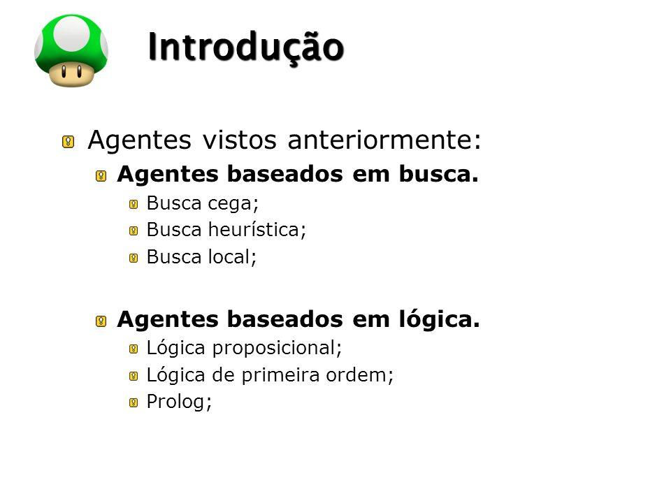LOGO Introdução Agentes vistos anteriormente: Agentes baseados em busca. Busca cega; Busca heurística; Busca local; Agentes baseados em lógica. Lógica