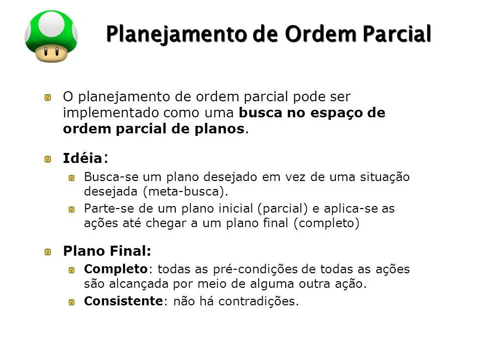 LOGO Planejamento de Ordem Parcial O planejamento de ordem parcial pode ser implementado como uma busca no espaço de ordem parcial de planos. Idéia :