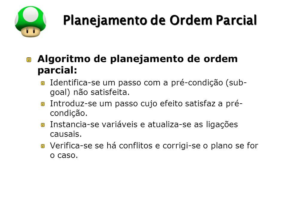LOGO Planejamento de Ordem Parcial Algoritmo de planejamento de ordem parcial: Identifica-se um passo com a pré-condição (sub- goal) não satisfeita. I
