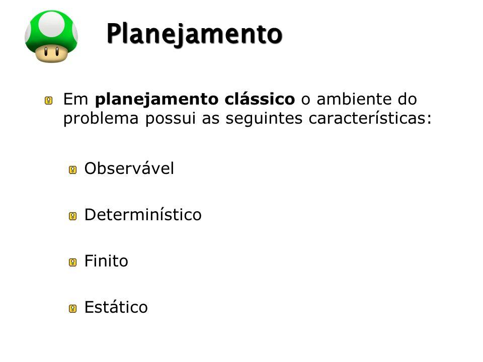 LOGO Planejamento Em planejamento clássico o ambiente do problema possui as seguintes características: Observável Determinístico Finito Estático