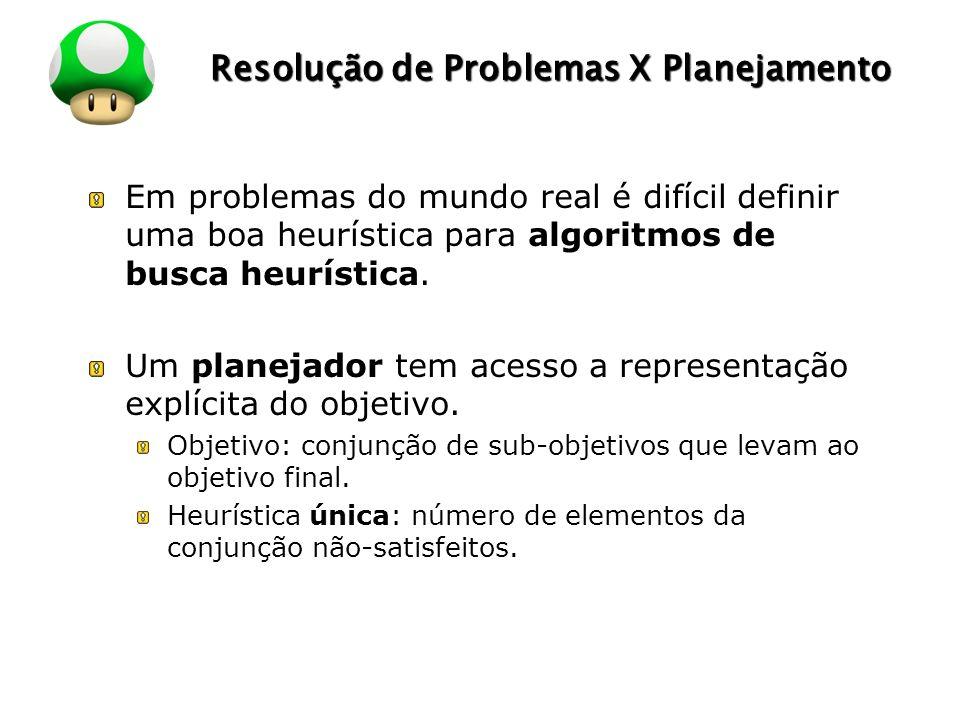 LOGO Resolução de Problemas X Planejamento Em problemas do mundo real é difícil definir uma boa heurística para algoritmos de busca heurística. Um pla