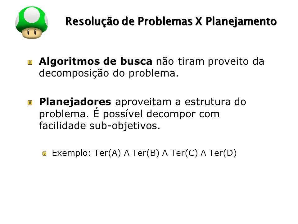 LOGO Resolução de Problemas X Planejamento Algoritmos de busca não tiram proveito da decomposição do problema. Planejadores aproveitam a estrutura do