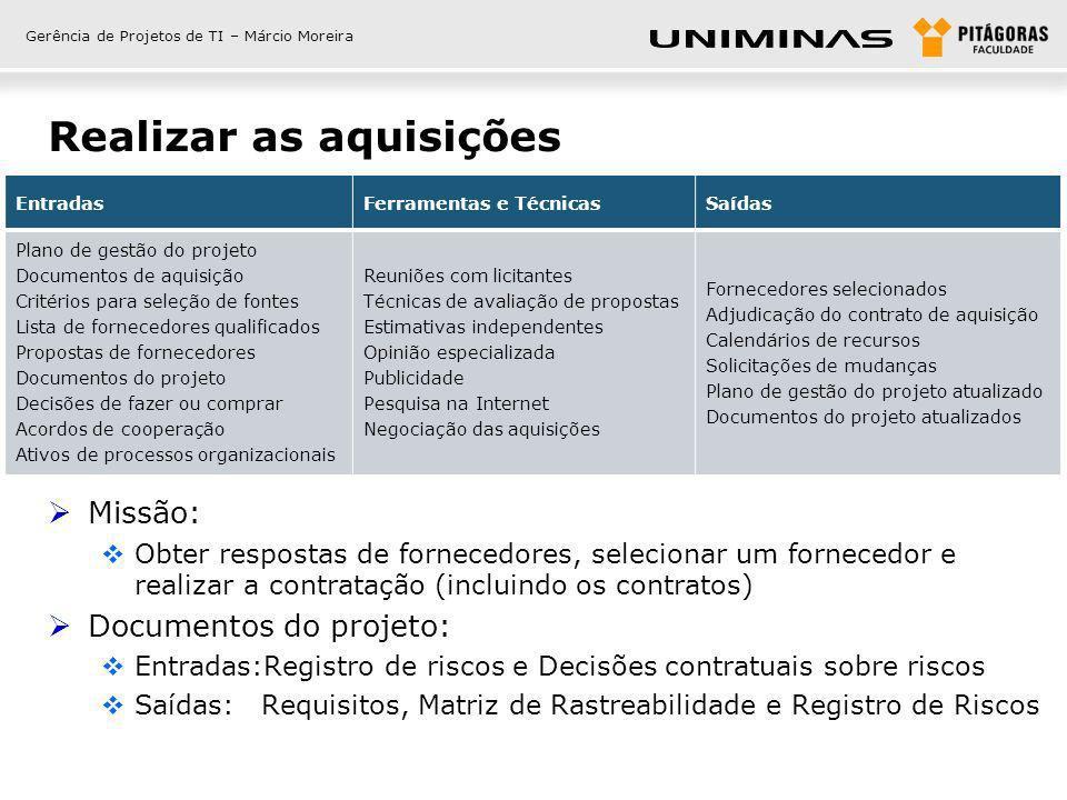Gerência de Projetos de TI – Márcio Moreira Realizar as aquisições Missão: Obter respostas de fornecedores, selecionar um fornecedor e realizar a cont