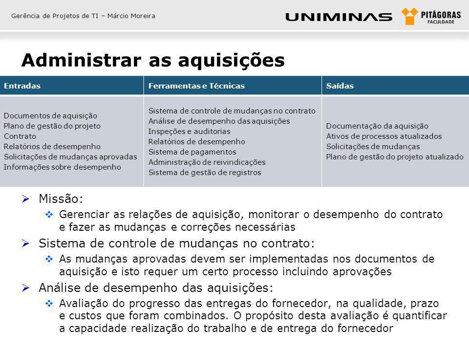 Gerência de Projetos de TI – Márcio Moreira Administrar as aquisições Missão: Gerenciar as relações de aquisição, monitorar o desempenho do contrato e