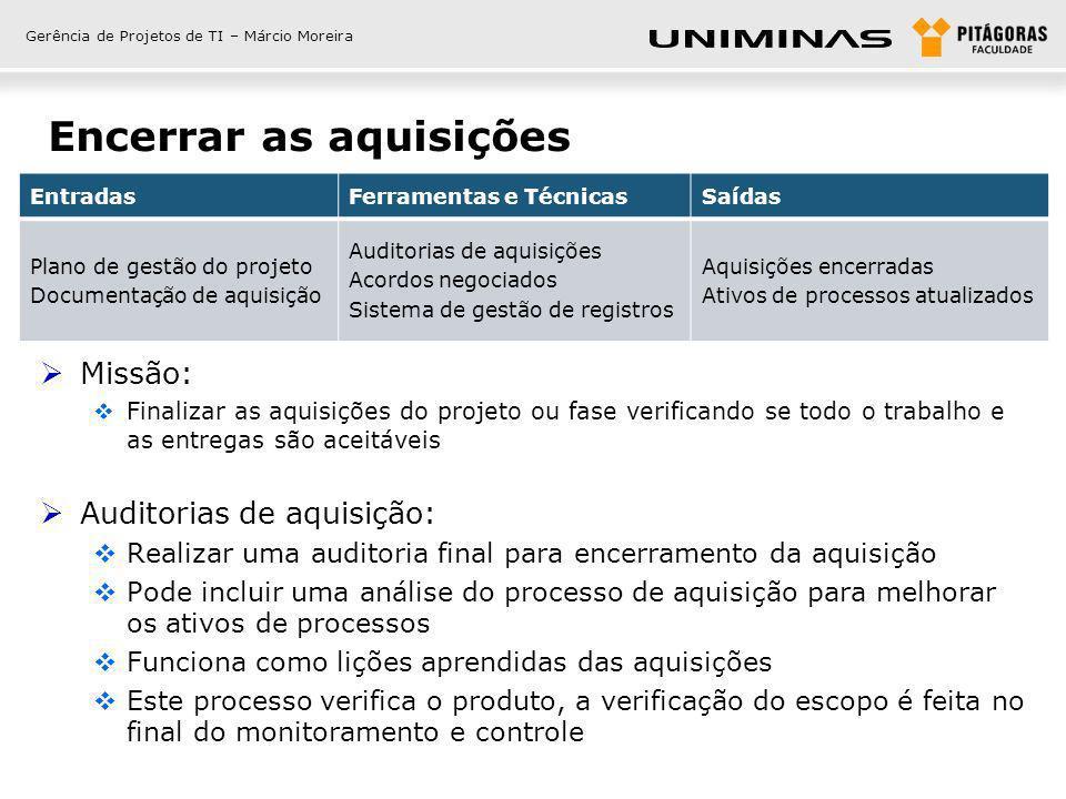 Gerência de Projetos de TI – Márcio Moreira Encerrar as aquisições Missão: Finalizar as aquisições do projeto ou fase verificando se todo o trabalho e